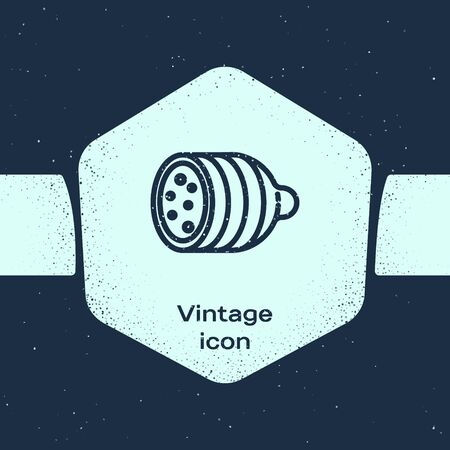 Grunge line Salami sausage icon isolated on blue background. Meat delicatessen product. Monochrome vintage drawing. Vector Illustration Иллюстрация