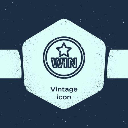 Grunge line Medal icon isolated on blue background. Winner symbol. Monochrome vintage drawing. Vector Illustration