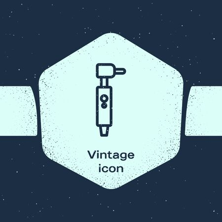 Grunge line Tooth drill icon isolated on blue background. Dental handpiece for drilling and grinding tools. Monochrome vintage drawing. Vector Illustration