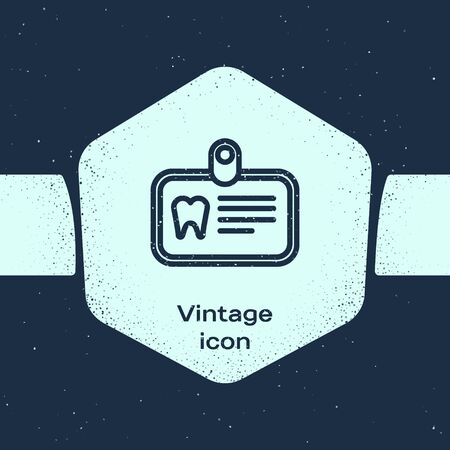 Grunge line Id card with tooth icon isolated on blue background. Monochrome vintage drawing. Vector Illustration
