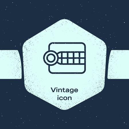Grunge line Dentures model icon isolated on blue background. Dental concept. Monochrome vintage drawing. Vector Illustration