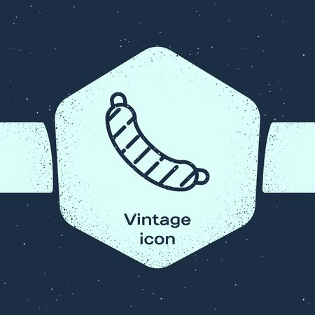 Grunge line Sausage icon isolated on blue background. Grilled sausage and aroma sign. Monochrome vintage drawing. Vector Illustration Stock Illustratie