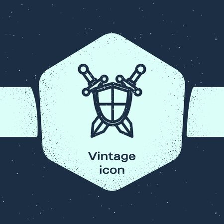 Grunge line Medieval shield with crossed swords icon isolated on blue background. Monochrome vintage drawing. Vector Illustration