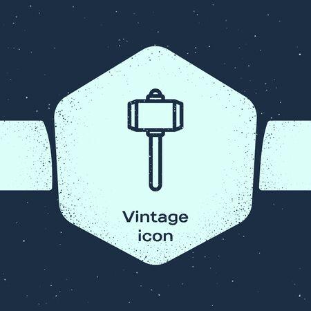 Grunge line Battle hammer icon isolated on blue background. Monochrome vintage drawing. Vector Illustration