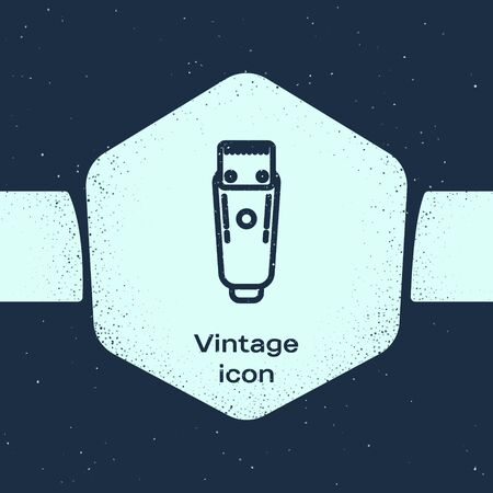 Grunge line Electrical hair clipper or shaver icon isolated on blue background. Barbershop symbol. Monochrome vintage drawing. Vector Illustration