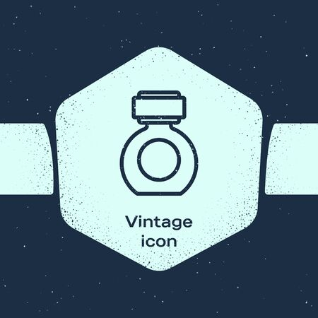 Grunge line Aftershave icon isolated on blue background. Cologne spray icon. Male perfume bottle. Monochrome vintage drawing. Vector Illustration Ilustração