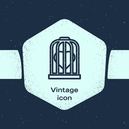 Grunge line Heart in the bird cage icon isolated on blue background. Love sign. Valentines symbol. Monochrome vintage drawing. Vector Illustration