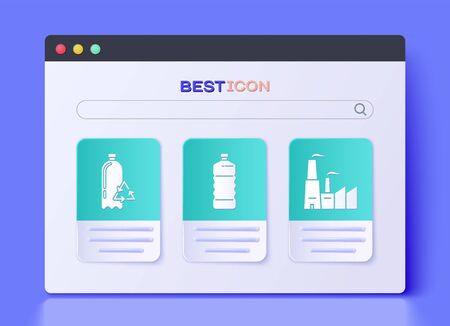 Set Plastic bottle, Recycling plastic bottle and Factory icon. Vector