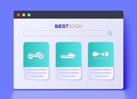Set Jet ski, All Terrain Vehicle or ATV motorcycle and Skateboard trick icon. Vector Ilustración de vector