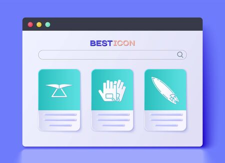 Set Gloves, Hang glider and Surfboard icon. Vector Illustration