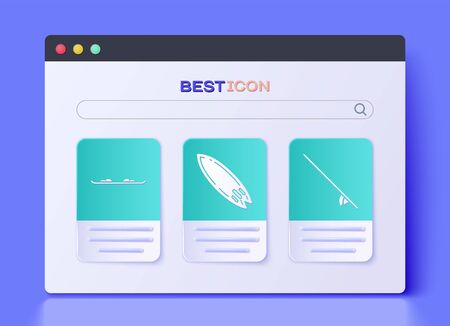 Set Surfboard, Snowboard and Surfboard icon. Vector