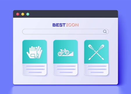 Set Bicycle on street ramp, Gloves and Crossed paddle icon. Vector