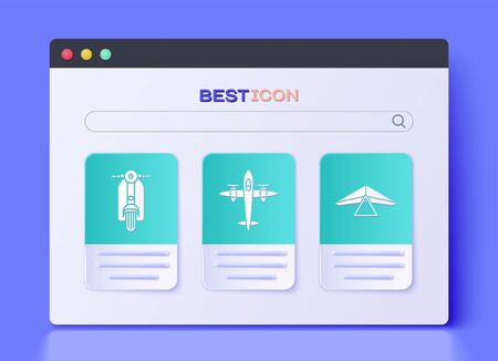 Set Old retro vintage plane, Scooter and Hang glider icon. Vector