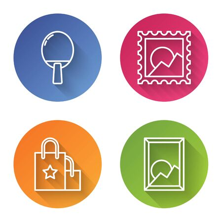 Set line Racket for playing table tennis, Picture landscape, Paper shopping bag and Picture landscape. Color circle button. Vector Illustration