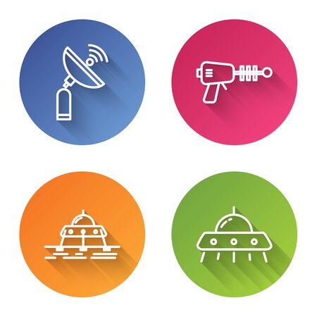 Set line Radar, Ray gun, Mars vehicle and UFO flying spaceship. Color circle button. Vector