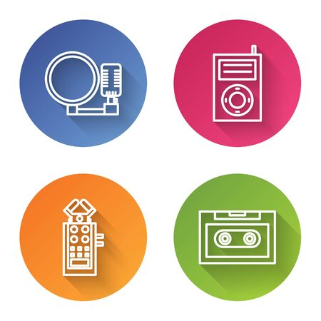 Set line Microphone, Music MP3 player, Microphone and Retro audio cassette tape. Color circle button. Vector