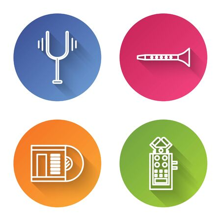 Set line Musical tuning fork, Clarinet, Vinyl disk and Microphone. Color circle button. Vector