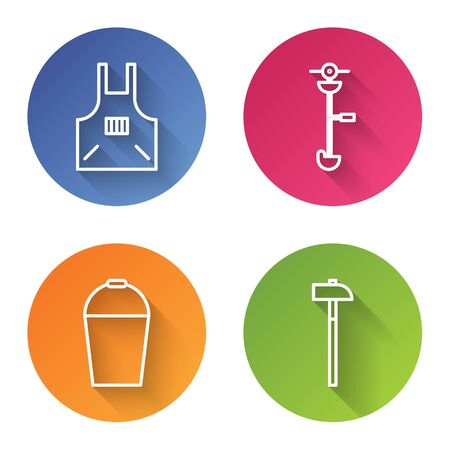 Set line Kitchen apron, Grass and weed electric string trimmer, Bucket and Hammer. Color circle button. Vector