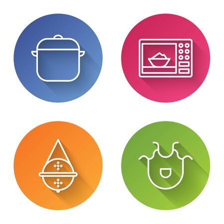 Set line Cooking pot, Microwave oven, Ball tea strainer and Kitchen apron. Color circle button. Vector