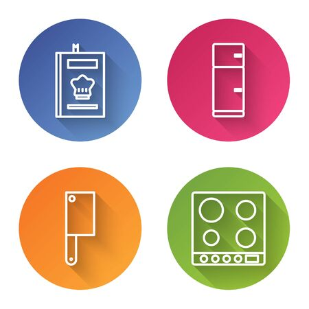 Set line Cookbook, Refrigerator, Meat chopper and Gas stove. Color circle button. Vector