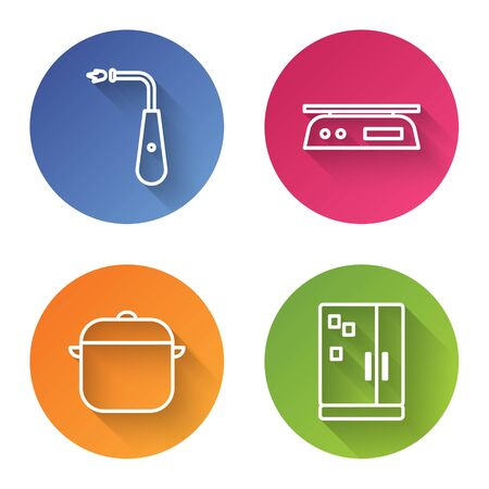 Set line Long electric lighter, Electronic scales, Cooking pot and Refrigerator. Color circle button. Vector