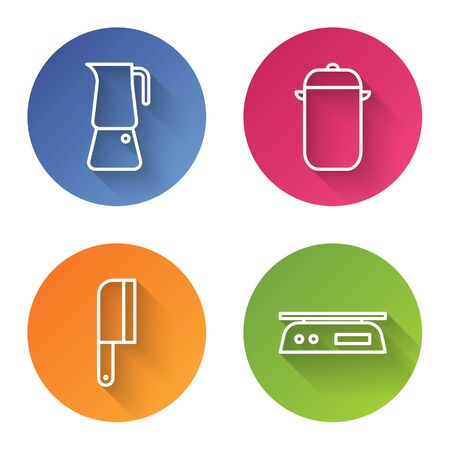 Set line Moka pot, Cooking pot, Meat chopper and Electronic scales. Color circle button. Vector