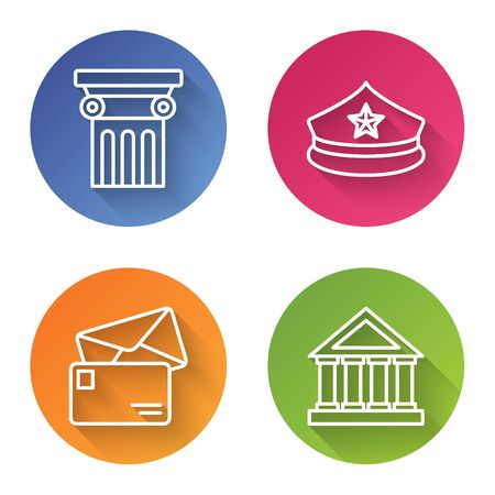 Set line Law pillar, Police cap with cockade, Envelope and Courthouse building. Color circle button. Vector