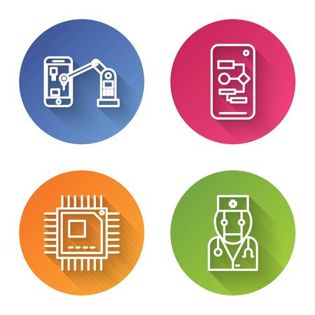 Set line Industrial machine robotic robot arm hand, Algorithm, Processor with microcircuits CPU and Robot doctor. Color circle button. Vector Illustration