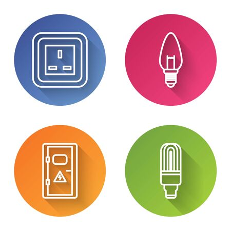 Set line Electrical outlet, Light bulb, Electrical cabinet and LED light bulb. Color circle button. Vector