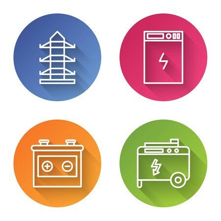 Establecer línea Línea de poste de energía de alto voltaje, banco de energía, batería de automóvil y generador eléctrico de energía portátil. Botón de círculo de color. Vector
