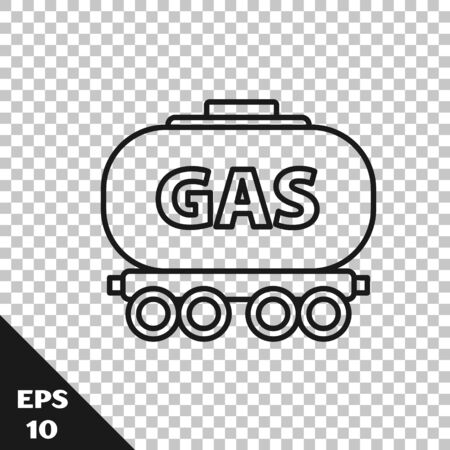 Black line Gas railway cistern icon isolated on transparent background. Train gasoline tank on railway car. Rail freight. Vector Illustration