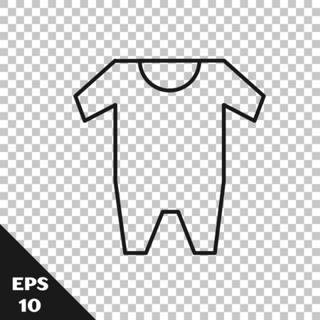 Linea nera icona di vestiti del bambino isolato su sfondo trasparente. Abbigliamento bambino per bambina e bambino. Body per bebè. illustrazione vettoriale