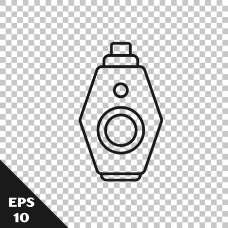 Black line Car key with remote icon isolated on transparent background. Car key and alarm system. Vector Illustration