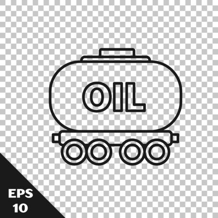 Black line Oil railway cistern icon isolated on transparent background. Train oil tank on railway car. Rail freight. Oil industry. Vector Illustration