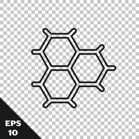 Black line Chemical formula consisting of benzene rings icon isolated on transparent background. Vector Illustration  イラスト・ベクター素材