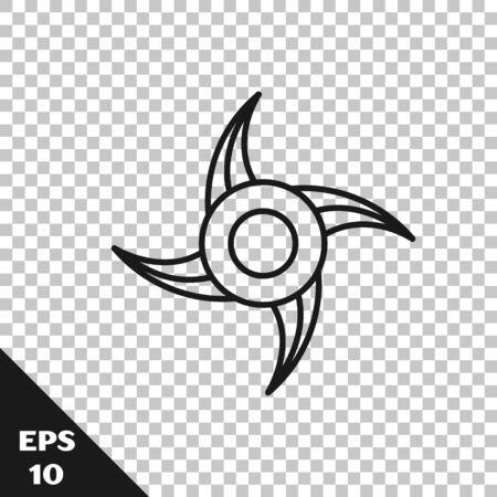 Black line Japanese ninja shuriken icon isolated on transparent background. Vector Illustration Ilustração