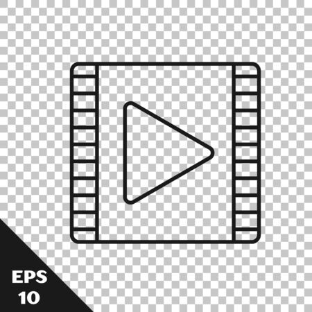 Black line Play Video icon isolated on transparent background. Film strip with play sign. Vector Illustration