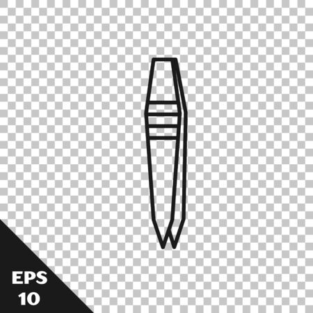 Black line Tweezers icon isolated on transparent background. Vector Illustration Vecteurs