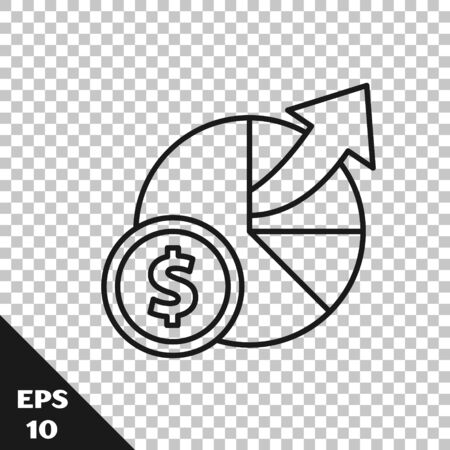 Black line Money and diagram graph icon isolated on transparent background. Financial analytics, budget planning, finance managemen. Vector Illustration 일러스트