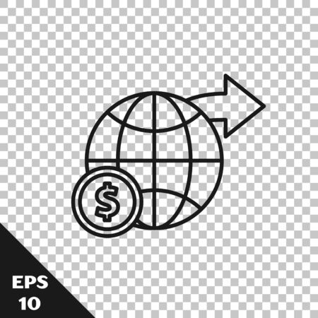 Black line Earth globe with dollar symbol icon isolated on transparent background. World or Earth sign. Global internet symbol. Geometric shapes. Vector Illustration
