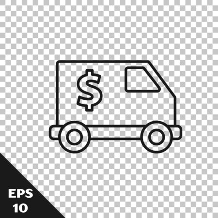 Black line Armored truck icon isolated on transparent background. Vector Illustration 向量圖像