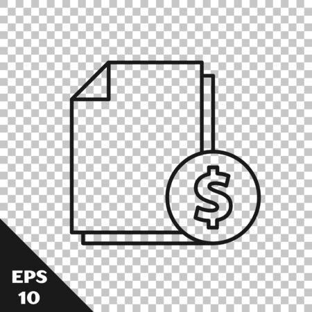 Black line Finance document icon isolated on transparent background. Paper bank document with dollar coin for invoice or bill concept. Vector Illustration