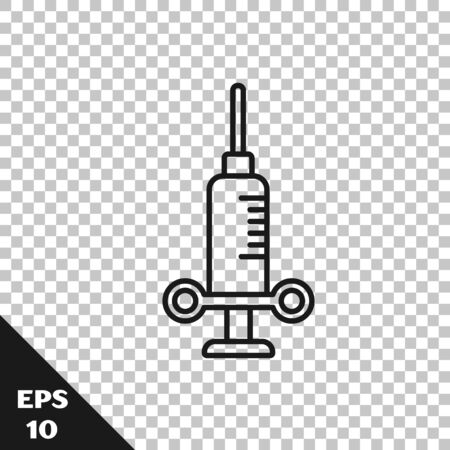 Black line Dental medical syringe with needle icon isolated on transparent background. Vector Illustration Vector Illustration