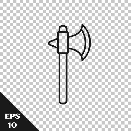 Black line Medieval axe icon isolated on transparent background. Battle axe, executioner axe. Vector Illustration Illustration