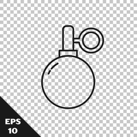 Black line Hand grenade icon isolated on transparent background. Bomb explosion. Vector Illustration
