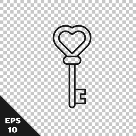 Black line Key in heart shape icon isolated on transparent background. Vector Illustration