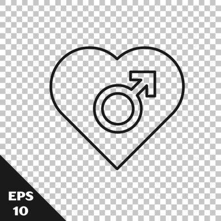 Black line Heart with male gender symbol icon isolated on transparent background. Vector Illustration