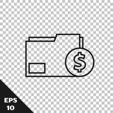 Black line Finance document folder icon isolated on transparent background. Paper bank document with dollar coin for invoice or bill concept. Vector Illustration
