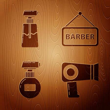 Set Hair dryer, Cream or lotion cosmetic tube, Cream or lotion cosmetic tube and Barbershop on wooden background. Vector