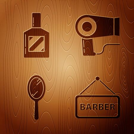 Set Barbershop, Aftershave, Hand mirror and Hair dryer on wooden background. Vector Ilustração